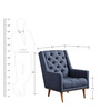 Modern Accent Chair with Slanted Back & Nailhead trims in Blue Colour by Afydecor