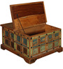 Azealia Coffee Table cum Trunk Box in Distress Finish by Bohemiana