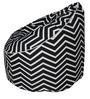 Muddha Sofa Bean Bag with Beans with Black Zig Zag Design by Sattva