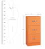 Multipurpose Storage Cabinet with Three Drawers in Orange Colour by Pindia