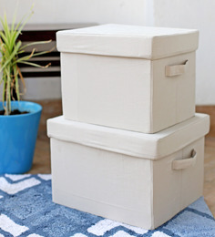 My Gift Booth Linen Beige Storage Box - Set Of 2