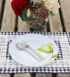 My Gift Booth Black Cotton Placemats - Set Of 6