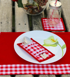 My Gift Booth Check Red Cotton Placemats With Coasters & Cutlery Holders - Set Of 6