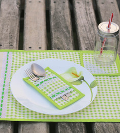 My Gift Booth Green Cotton Placemats With Coasters & Cutlery Holders - Set Of 6