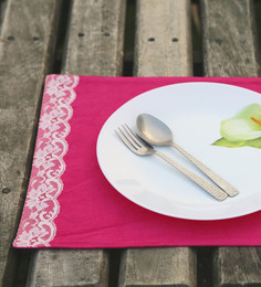 My Gift Booth Lace Pink Canvas Placemats - Set Of 6