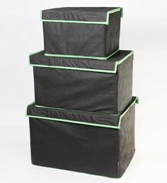My Gift Booth Black 3-piece Storage Box Set