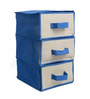 My Gift Booth Non-Woven Blue Foldable 3-Compartment Drawer