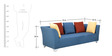 Naples Three Seater Sofa With Arms in Blue Colour by Furnitech