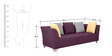 Naples Three Seater Sofa With Arms in Purple Colour by Furnitech