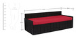 Nelson Sofa cum Bed with Two Pillows & Four Round Bolsters in Red Colour by Auspicious