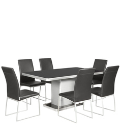 Neo Six Seater Dining Set In Black & Silver Colour By Godrej Interio