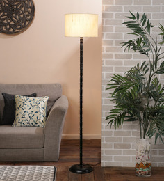 New Era Off White Cotton Floor Lamp at pepperfry
