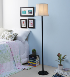 New Era Off White Cotton Stick Floor Lamp at pepperfry