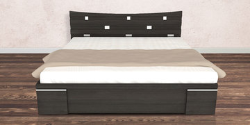 New Crescent Queen Size Bed With Storage In Midnight Oak Finish By UNiCOS