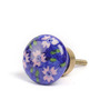 Neerja Blue Ceramic Flowers & Leaves Door Knob - Set Of 6