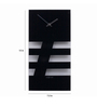 Nextime Black Glass 15 x 7.5 Inch Bold Stripes Wall Clock