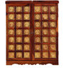 Niramitra Bar Cabinet with Floral Brass Repousse Work in Honey Oak Finish by Mudramark