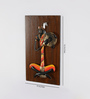 Olha-O Multicolour Wood and Wrought Iron Musician Beautiful Wall Hanging - Set of 2