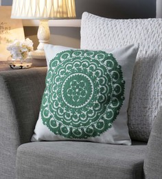 One Good Thing White & Green Canvas 16 X 16 Inch Suzani-Embroidered Cushion Cover - Set Of 2