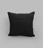 One Good Thing Blue & Black Canvas 16 x 16 Inch Aari-Embroidered Cushion Cover - Set of 2