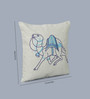 One Good Thing Blue Linen 16 x 16 Inch Dessert Safari Embroidered Cushion Cover