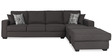 Oritz LHS Three Seater Sofa with Lounger and Throw Cushions in Charcoal Grey Colour by CasaCraft