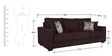 Oritz Three Seater Sofa with Throw Cushions in Chestnut Brown Colour by CasaCraft