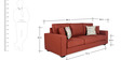 Oritz Three Seater Sofa with Throw Cushions in Burnt Sienna Colour by CasaCraft