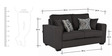 Oritz Two Seater Sofa with Throw Cushions in Charcoal Grey Colour by CasaCraft