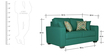 Oritz Two Seater Sofa with Throw Cushions in Jade Colour by CasaCraft