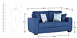 Oritz Two Seater Sofa with Throw Cushions in Teal Blue Colour by CasaCraft