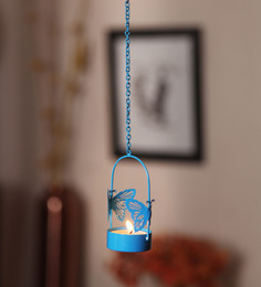 Orlando's Decor Blue Metal Single Blue Butterfly Hanging Tea Light Holder