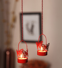 Orlando's Decor Red Metal Single Butterfly Hanging Tea Light Holder - Set Of 2
