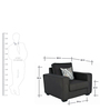 Oritz One Seater Sofa with Cushions in Charcoal Grey Colour by CasaCraft