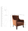 Oxford Wing Chair in Mocha Fabric & Walnut Finish by Inliving