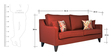 Ithaca Impulse Three Seater Sofa with Throw Cushions in Burnt Sienna Colour by Urban Living