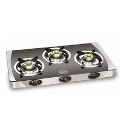 Padmini CS-3 GT Crystal Black 3-burner Gas Stove