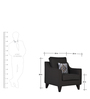 Ithaca Impulse One Seater Sofa in Charcoal Grey Colour by Urban Living