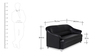 Pearl Three Seater Sofa in Black Colour by Spacewood
