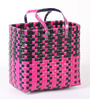 Peacock Life Large Plastic Black & Pink Basket
