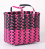Peacock Life Medium Plastic Black & Pink Basket