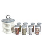 JVS Kitchen Mate Grey Droplets 100 ML (Each) Spice Rack - Set of 8