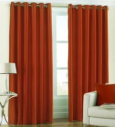 PIndia Solid Rust Window Curtains (Set Of 2)