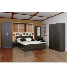 Pine Crest Royal Bedroom Set(2 door wardrobe, Bed with Storage, Side Table, Dressing Table with Stool.
