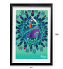 Pickypomp Paper 8 x 12 Inch Beautiful Peacock Framed Wall Poster
