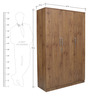 Platina Knotty Three Door Wardrobe in Knotty Wood Colour by Crystal Furnitech