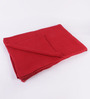 Pluchi Red Cotton Knit & Purl Throw