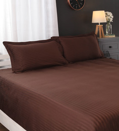 Portico New York Brown Cotton Satin Stripes Queen Size Bed Sheet With 2 Pillow Covers