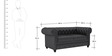 Princeton Two Seater Sofa in Peras Bag Black Colour by ARRA