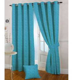 Presto  Aqua Coloured Jacquard Door Curtain  7 Ft